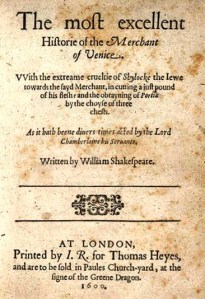 Title page to the first quart of 'The Merchant of Venice'