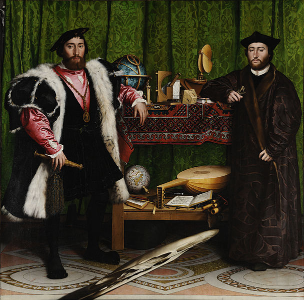 Hans Holbein 'The Ambassadors. The grey diagonal in the foreground is a skull rendered in anamorphic perspective