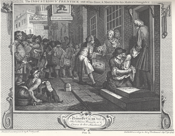 William_Hogarth_-_Industry_and_Idleness,_Plate_6;_The_Industrious_'Prentice_out_of_his_Time,_&_Married_to_his_Master's_Daughter