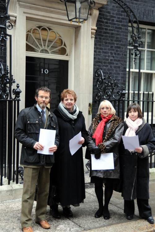 The ISM's Chief Executive Deborah Annetts (far right) and (L-R) Include Design campaign coordinator Joe Macleod joined the presidents of the National Association of Head Teachers (NAHT) and National Union of Teachers (NUT) in handing in a letter to Number 10 calling for the EBacc proposals to be slowed down in 2013 – which was successful.