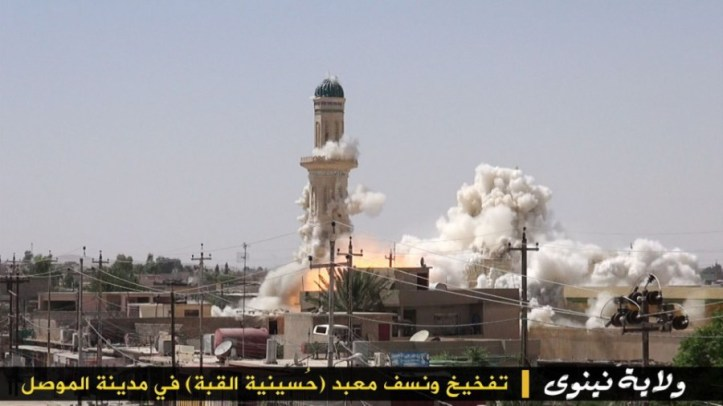 Hussinit Alquba Mosque in Mosul, Nineveh Province, Iraq. Destroyed by Da'esh in 2014