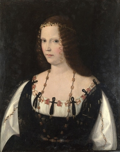 Portrait of a Young Lady about 1500-10, presumably Lucrezia Borgia, by Bartolomeo Veneto. Source: National Gallery.