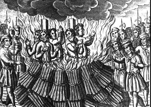 heretics being burned